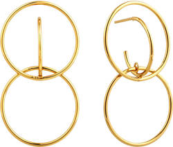Ania Haie Gold-Plated Sterling Silver Double Circle Front Earrings
