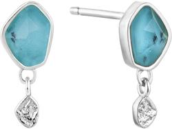Ania Haie Rhodium-Plated Sterling Silver Simulated Turquoise Drop Stud Earrings