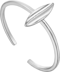 Ania Haie Rhodium-Plated Sterling Silver Leaf Adjustable Ring