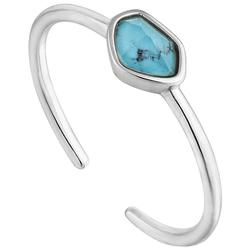 Ania Haie Rhodium-Plated Sterling Silver Simulated Turquoise Adjustable Ring