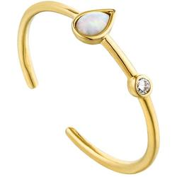 Ania Haie Gold-Plated Sterling Silver Simulated Opal Raindrop Adjustable Ring