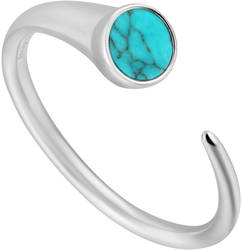 Ania Haie Rhodium-Plated Sterling Silver Simulated Turquoise Claw Ring