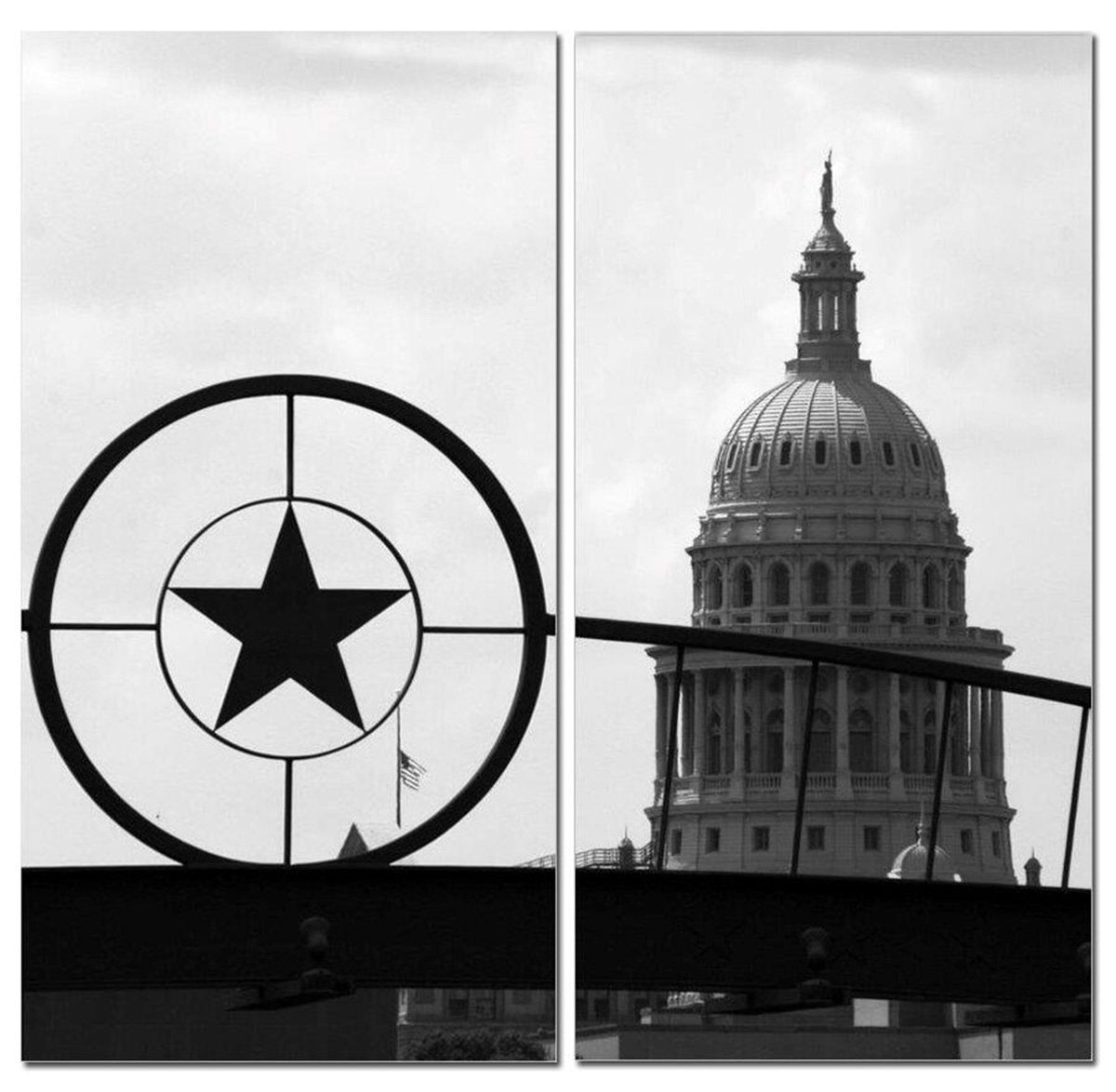 "Lone Star Texas State Capitol Black & White 12"" x 24"" 2 Piece Canvas Print Set"