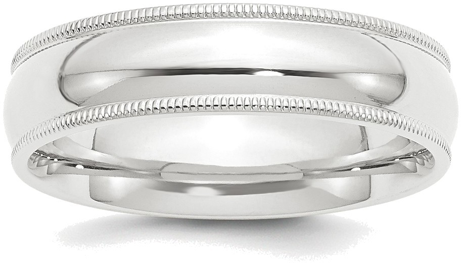 Platinum 6mm Comfort-Fit Milgrain Wedding Band Ring