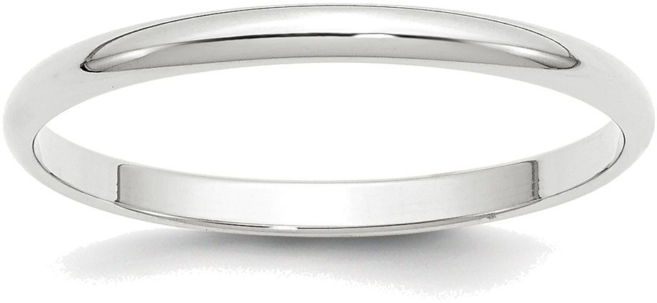 10K White Gold 2mm Lightweight Half Round Band Ring