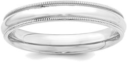 Sterling Silver 4mm Milgrain Comfort Fit Band Ring