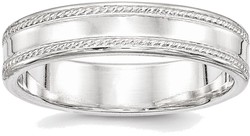 Sterling Silver 5mm Design Edge Band Ring