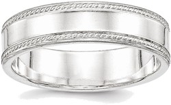 Sterling Silver 6mm Design Edge Band Ring
