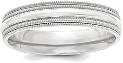 Sterling Silver 5mm Comfort Fit Double Milgrain Band Ring