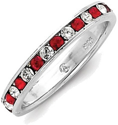 Sterling Silver Red & White CZ Eternity Band Ring