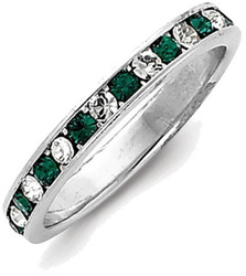 Sterling Silver Green & White CZ Eternity Band Ring