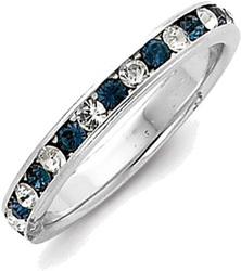 Sterling Silver Blue & White CZ Eternity Band Ring