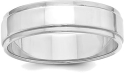 Sterling Silver 6mm Flat w/ Step Edge Band Ring