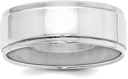 Sterling Silver 7mm Flat w/ Step Edge Band Ring