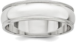 Sterling Silver 6mm Half Round Milgrain Band Ring
