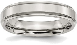 Stainless Steel Ridged Edge 5mm Polished Band Ring