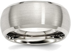 Stainless Steel Beveled Edge 10mm Brushed and Polished Band Ring