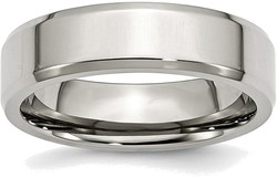 Stainless Steel Beveled Edge 6mm Polished Band Ring