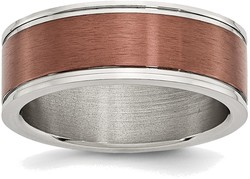 Stainless Steel 8mm Brown IP-plated Brushed & Polished Band Ring