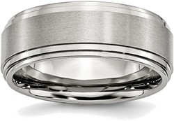 Stainless Steel Ridged Edge 8mm Brushed and Polished Band Ring SR24