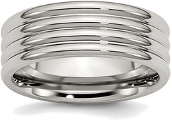 Stainless Steel Grooved 8mm Polished Band Ring