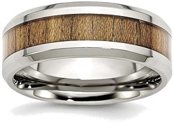 Stainless Steel Polished Wood Inlay Enameled 8.00mm Ring