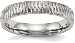 Stainless Steel Polished Textured Ring SR492