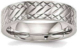 Stainless Steel Polished Textured Ring SR495