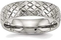Stainless Steel Polished Textured Ring SR496