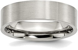Stainless Steel Flat 6mm Brushed Band Ring