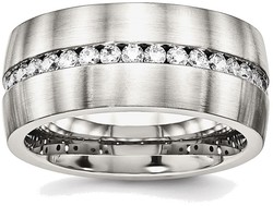 Stainless Steel Brushed and Polished CZ Ring SR573