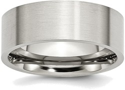 Stainless Steel Flat 8mm Brushed Band Ring