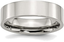 Stainless Steel Flat 6mm Polished Band Ring