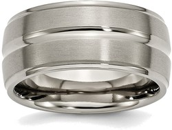 Titanium Grooved Ridged Edge 10mm Brushed and Polished Band Ring