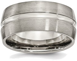 Titanium Grooved 10mm Brushed and Polished Band Ring