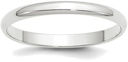 10K White Gold 2.5mm Lightweight Half Round Band Ring