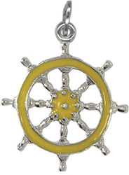 Beaucraft Sterling Silver Yellow Enameled Ship Wheel Charm