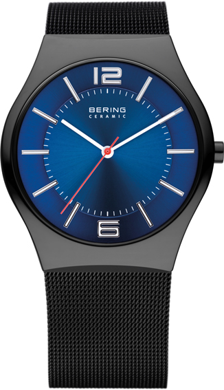Bering Time - Mens Black Ceramic Watch with Blue Dial 32039-447