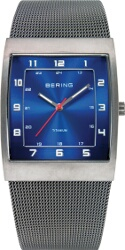 Bering Time - Classic - Mens Grey & Blue Titanium Case Mesh Watch 11233-078
