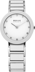 Bering Time - Ladies White Ceramic Link Watch with Swarovski Crystals 11429-754 (Womens)