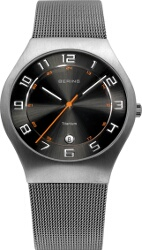 Bering Time - Classic - Mens Silver Titanium Case Mesh Watch with Black Dial 11937-007