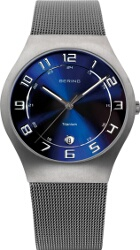 Bering Time - Classic - Mens Silver Titanium Case Mesh Watch with Blue Dial 11937-078