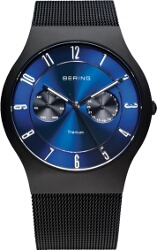 Bering Time - Classic - Mens Black Titanium Case Mesh Multifunction Watch with Blue Dial 11939-078