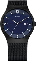 Bering Time - Classic - Mens Black & Blue Mesh Solar Watch 14440-227