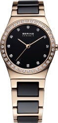 Bering Time - Ladies Rose Gold & Black Ceramic Link Watch with Swarovski Crystals 32435-746 (Womens) - CLEARANCE