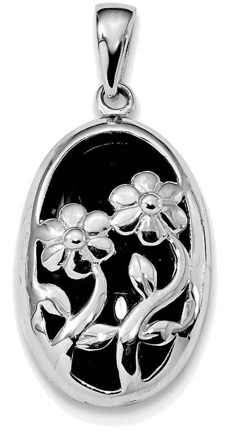 Sterling Silver Rhodium-plated Polished Oval Black Onyx Flower Pendant