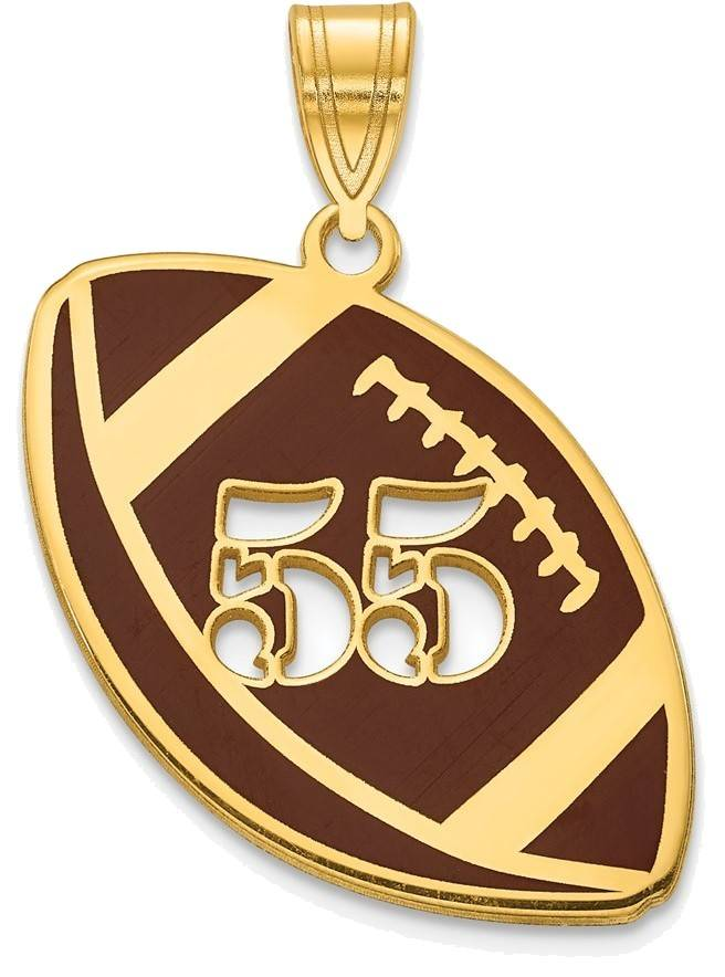 Gold Plated Sterling Silver Epoxied Football Pendant with Number
