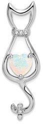 14k White Gold Lab-Created Opal and Diamond Cat Pendant