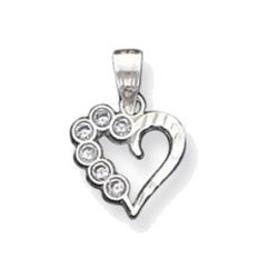 Sterling Silver CZ Heart Pendant QC1212
