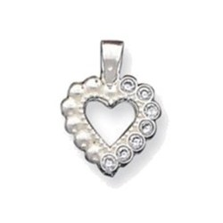 Sterling Silver CZ Heart Pendant QC1214